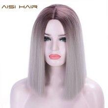 Pelo AISI sintético Ombre gris/Rubio/Rosa recta pelucas cortas para mujeres blancas/negras medio parte natural Bob pelucas
