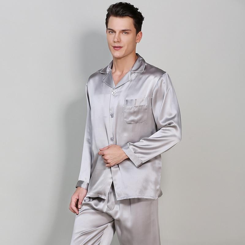 Мужчина% 27 длинный рукав натуральный шелк пижама 19 мм тяжелый шелк пижама комплекты 100% 25 шелкопряд шелк одежда для сна мужской однотонный цвет T9002-ZB