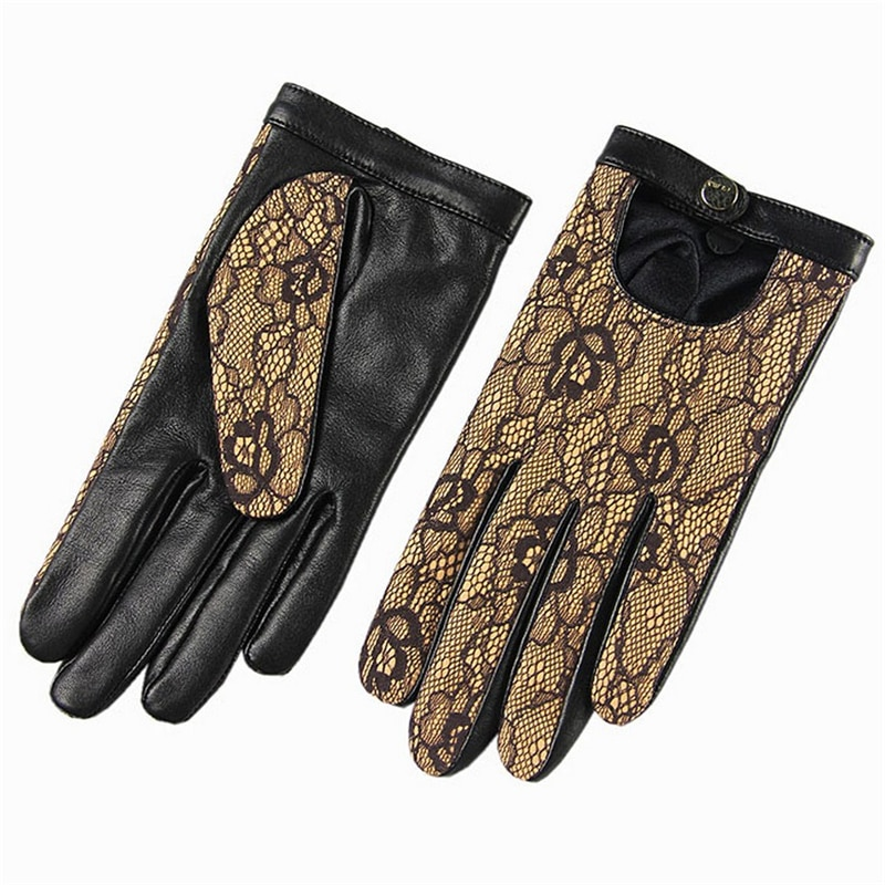 High Quality Brand Genuine Leather Gloves  Women Sheepskin Glove Fashion Trend Black Lace Driving EL030NN-5