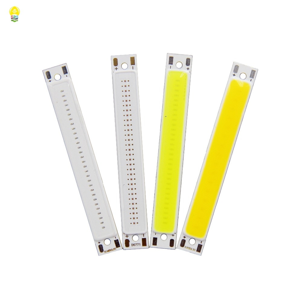 Puce à bande en COB, ampoule de DC3-3.7V en COB 2 V, 60x8mm, 1.5 W, 3 W, source de lumière chaude, blanc et froid, bleu, en COB pour le travail du bricolage, éclairage de bicyclette