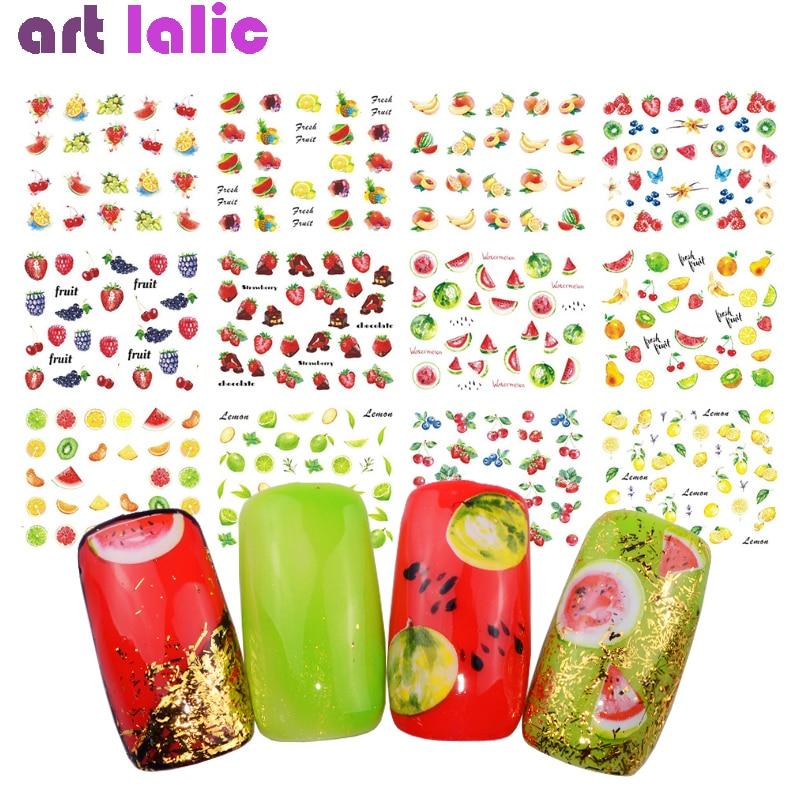 18 hoja de verano Harajuku elemento fruta Retro de transferencia de agua arte de uñas pegatina adhesivo deslizable para uñas decoración herramienta consejos manicura