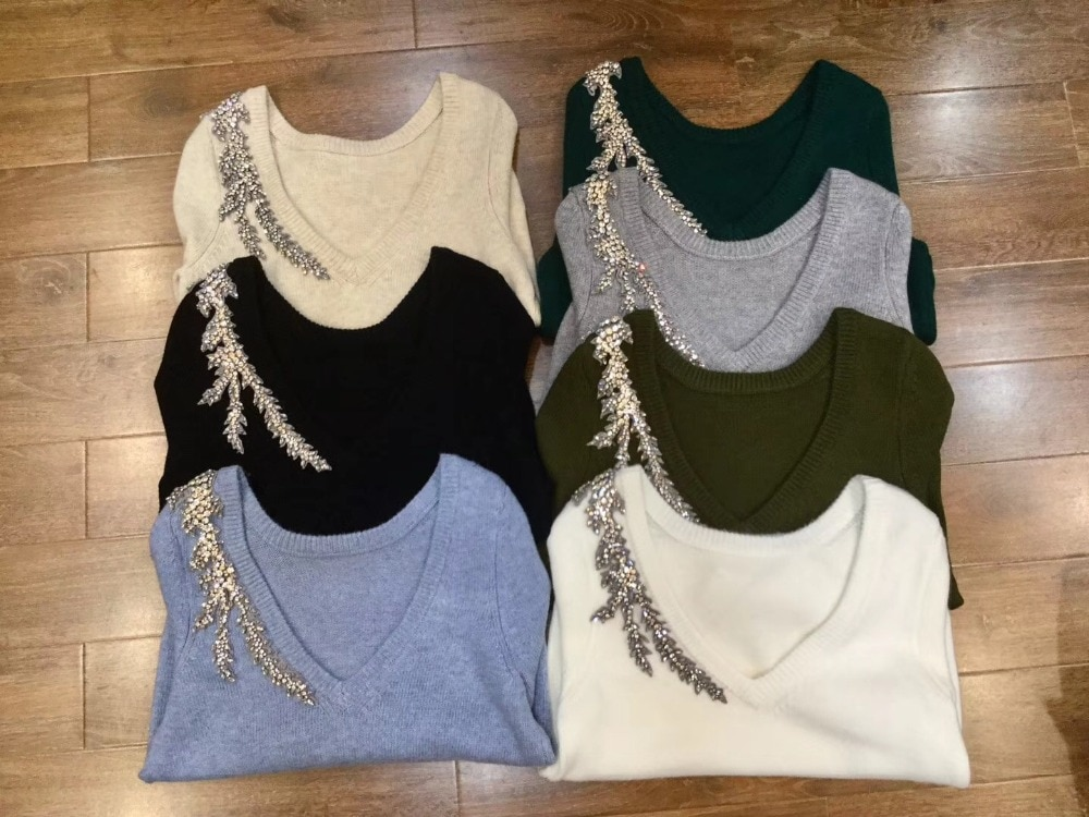 2020 Luxury diamond beading cashmere woolen Sweater female deep V-neck Crystals Beading Knitwear Sweaters Pullover tops wq887