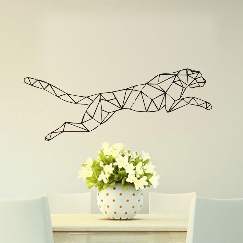 Etiqueta engomada geométrica de la pared del Jaguar corriendo la decoración del hogar del leopardo pegatina artística para habitación de los niños envío gratis