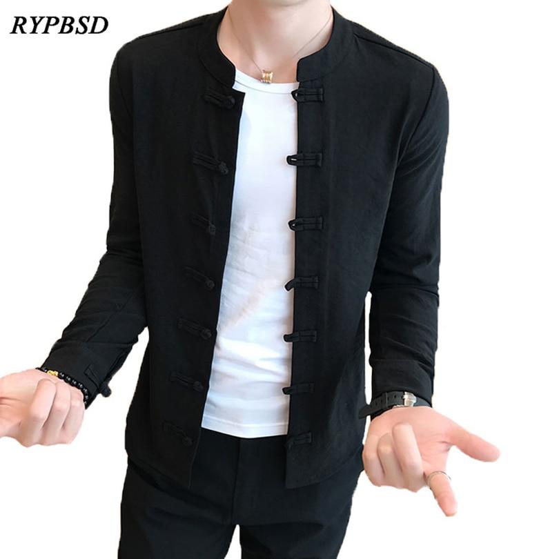 Outono 2019 estilo chinês tang trajes camisa gola mandarim ajuste fino casual kung fu tai chi camisa preta camisa de manga longa