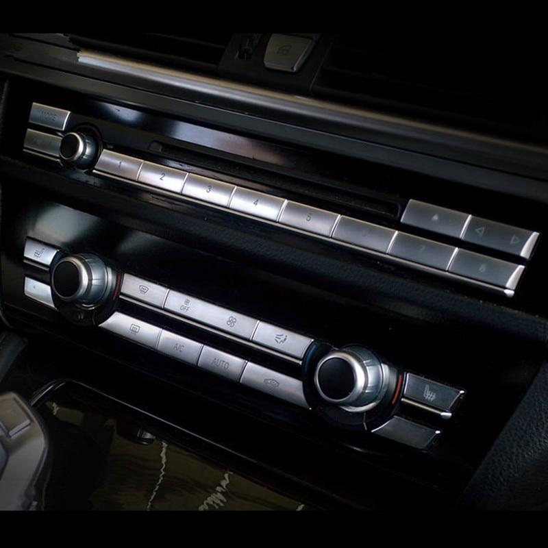 Garniture de couvercle de décoration pour BMW   Boutons de climatisation de voiture CD, boutons de décoration pour BMW F10 F18 F07 F06 F12 F13 5 6 7 séries 5GT Chrome ABS
