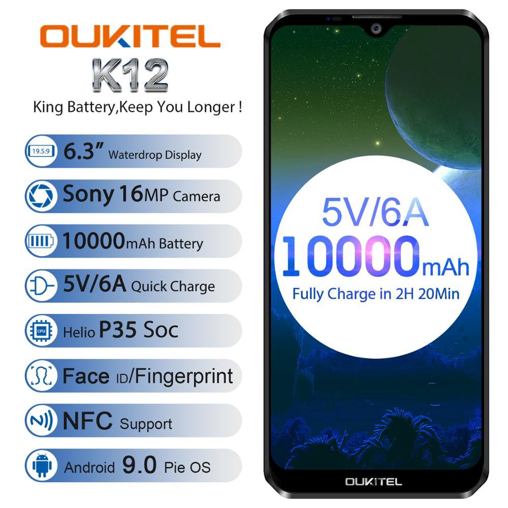 "OUKITEL K12 5V 6A Smartphone Android 9,0 teléfono móvil 6,3 ""19,5 9 MTK6765 6G RAM 64G ROM NFC 10000mAh carga rápida huella dactilar"