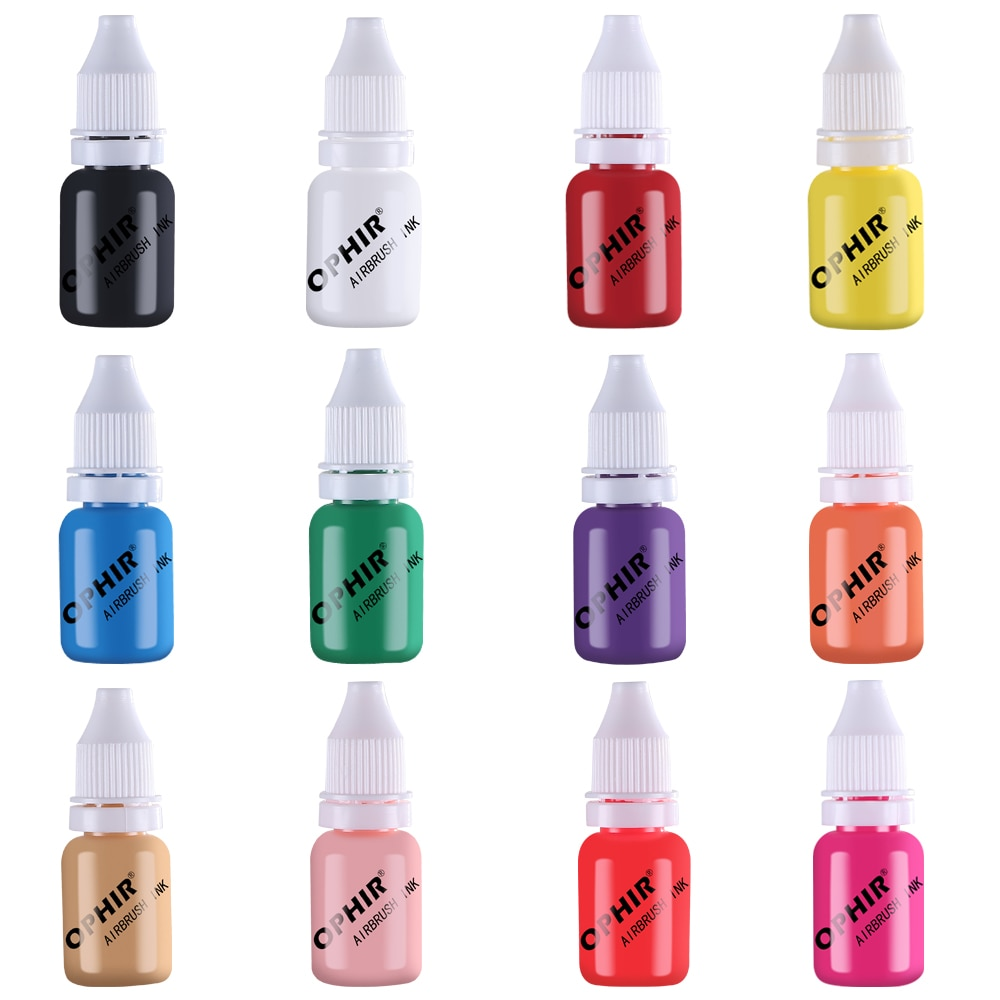 OPHIR PRO 12 Colors Airbrush Nail Inks 10 ML/Bottle Acrylic Water Paint Ink Pigments Airbrush Nail Art Tool_TA098(1-12) enlarge