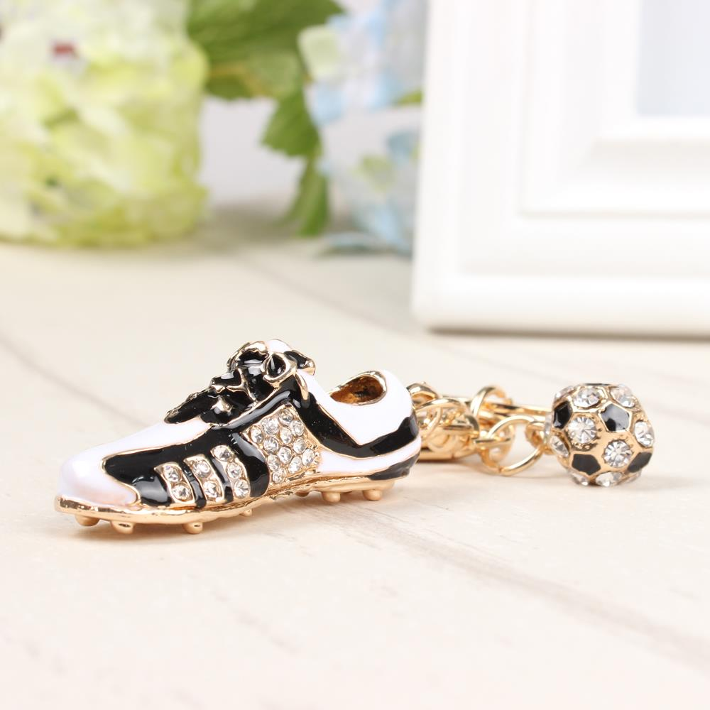 Football Shoe Sport Lovely New Fashion Cute Crystal Charm Pendant Purse Bag Car Key Ring Chain Wedding Party Creative Gift