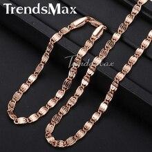 Trendsmax rosa ouro enchido caracol ligação corrente dos homens das mulheres colar de corrente meninas meninos unissex atacado jóias gs181