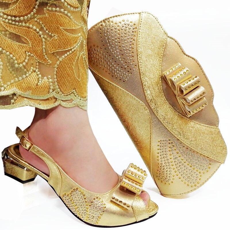 2019 señoras de cuero de la PU zapatos y Bolsa oro italiano zapatos con bolsos a juego de alta calidad Africana zapato y bolsa de fiesta