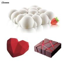 SHENHONG 3PCS 4D Cake Mold Baking Dessert Diamond Heart Art Mousse Silicone 3D Mould Silikonowe Moule Pastry Chocolate Pan