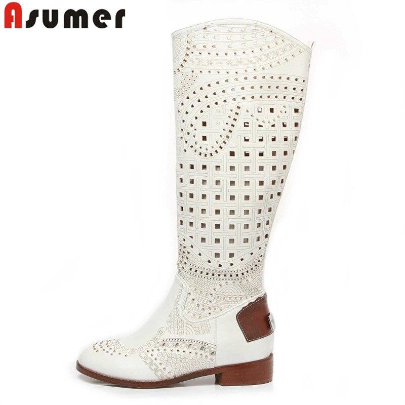 ASUMER-جزمة بطول الركبة للنساء ، أحذية مربعة ، أحذية مسطحة مجوفة ، نمط المصارع ، الربيع والصيف