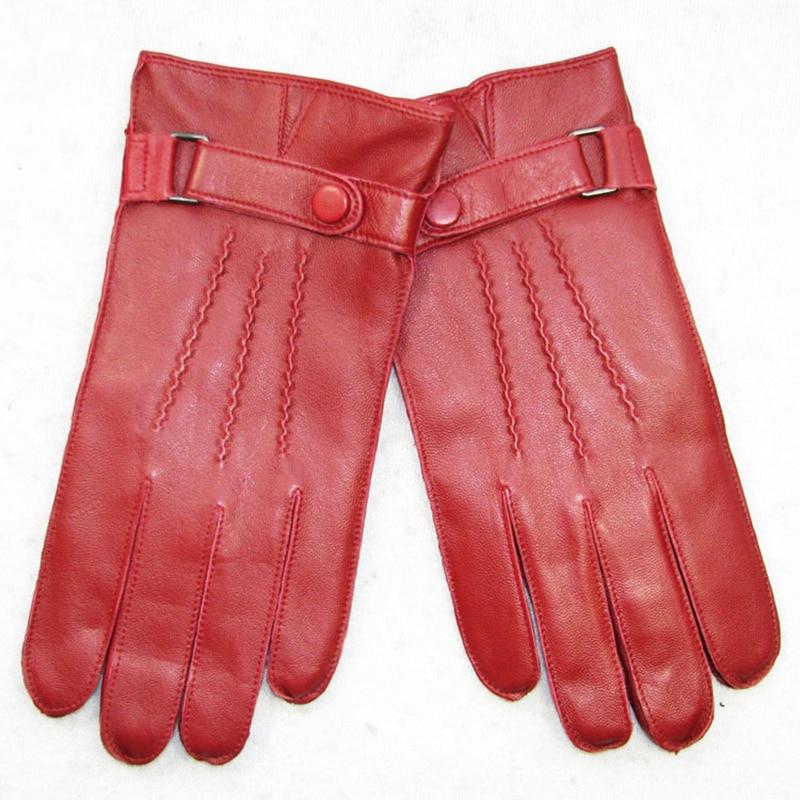 Перчатки из натуральной кожи мужские модные простые перчатки из овчины Мужские красные зимние плюс бархатные плотные сохраняющие тепло дл...