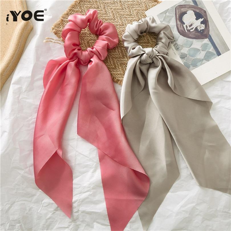 10 Solid Colors Streamers Hair Scarf Elastic Hair Rope Women Bow Ties Long Ribbon Scrunchie Hair Bands Girl Hair Accessories