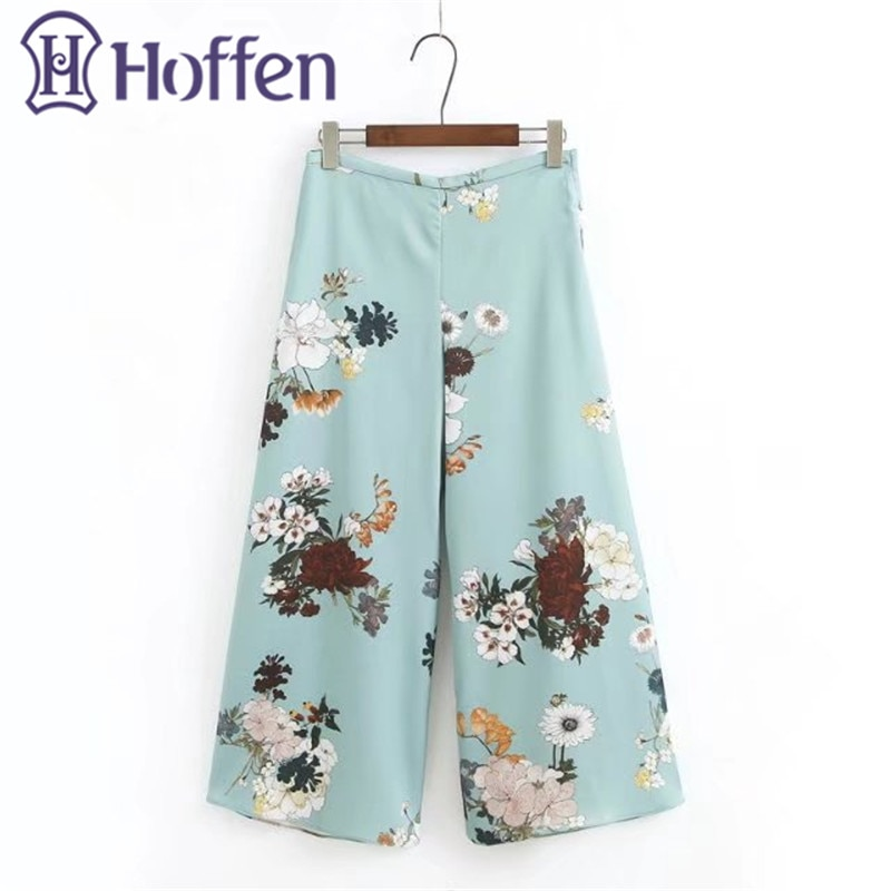 Hoffen Fashion High Waist Loose Wide Leg Pants Side Zipper Floral Print Summer Casual Ankle-Lenght Trousers Pantalones Mujer