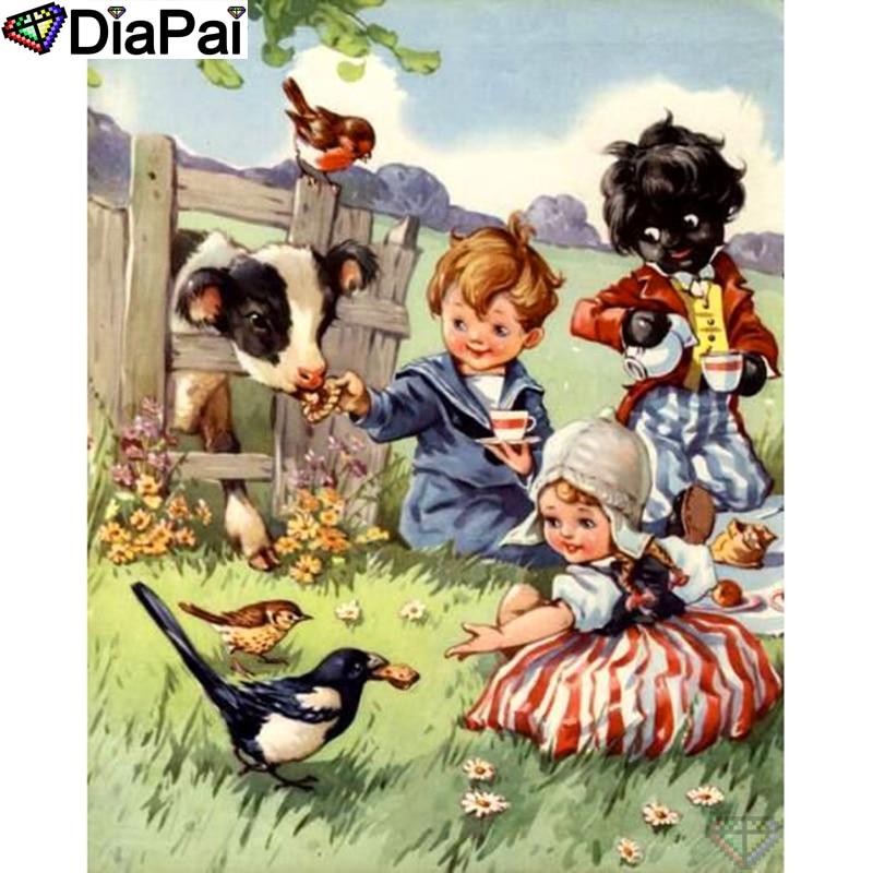 "DIAPAI 100% Full Square/Round Drill 5D DIY Diamond Painting ""Child bird cow"" Diamond Embroidery Cross Stitch 3D Decor A18768"