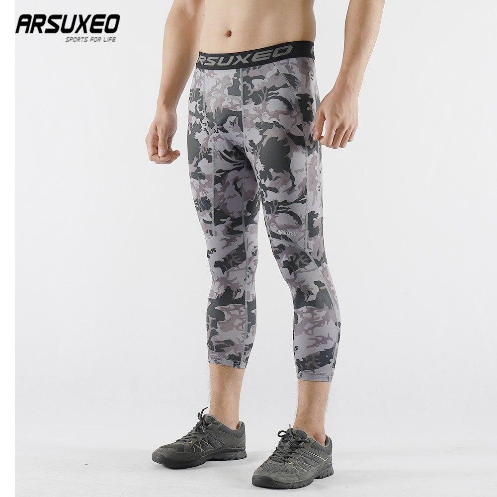 ARSUXEO, pantalones de compresión estilo camuflaje para hombre, capa Base 3/4, mallas para correr, gimnasio, Fitness, Pantalones de ejercicio de entrenamiento activo K75