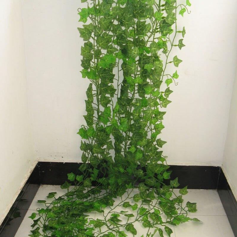 1PCS 2.4M Artificial Ivy green Leaf Garland Plants Vine Fake Foliage Flowers Home Decor Plastic Artificial Flower Rattan string