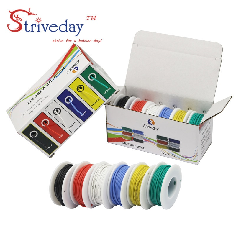 AliExpress - 30/28/26/24/22/20/18awg Flexible Silicone Wire Cable 6 color Mix package Electrical Wire Copper Line DIY