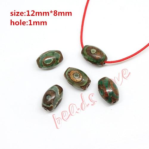 ¡Caliente! Aproximadamente 12mm * 8mm oración Mala tibetana mística Agata Dzi 3 9 verde ojos negros cuentas 2 unids/lote DIY collar accesorios de regalo