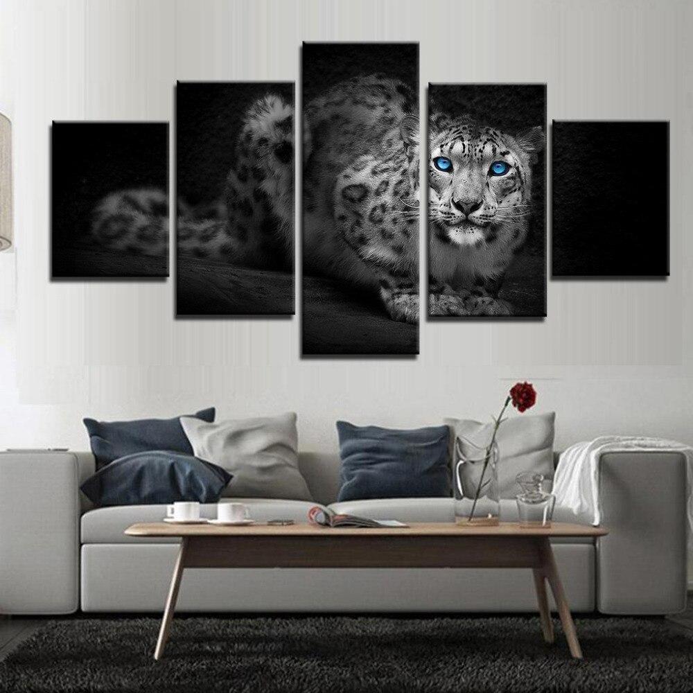 HD decoración de pared del hogar Pinturas Modernas carteles impresos Marco modular 5 paneles Animal leopardo cuadro imágenes artísticas lienzo