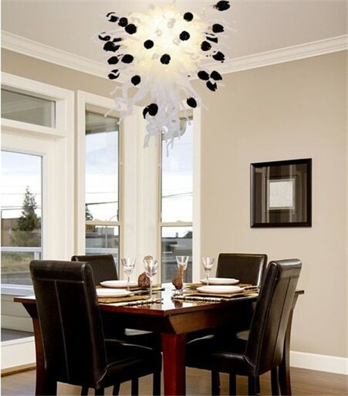 Beautiful White with Little Black Murano Glass Chandelier for Diningroom Decoration