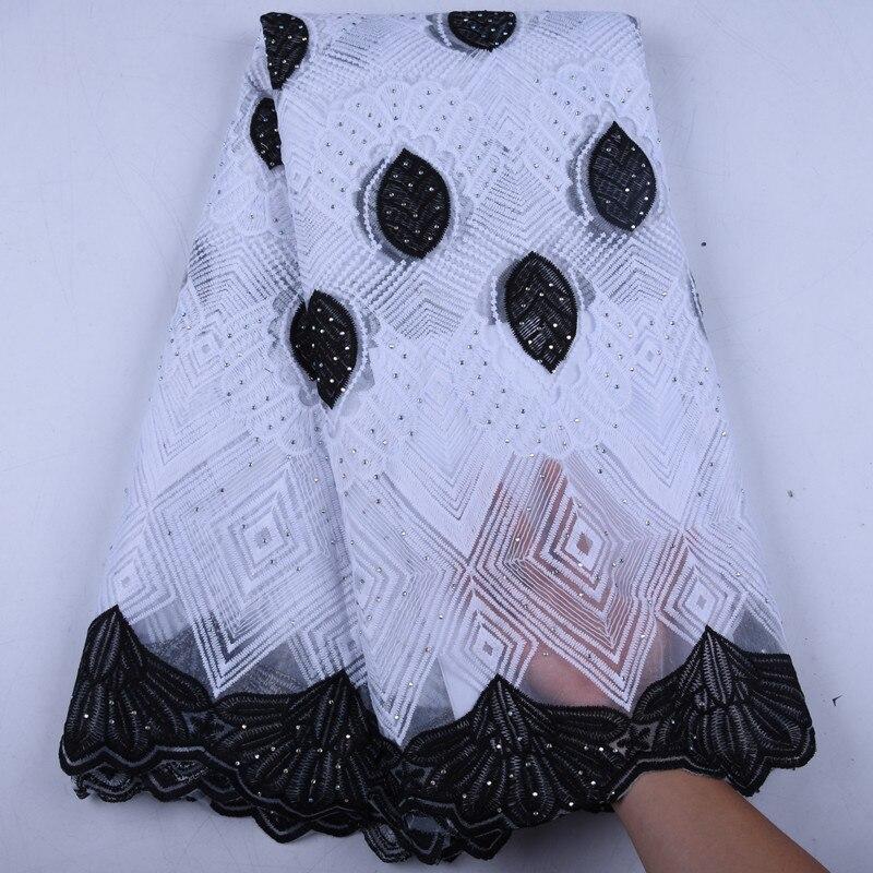 Tecido de renda africano branco preto leite seda nigéria laços tecido alta qualidade francês tule tecido renda para festa casamento y1570