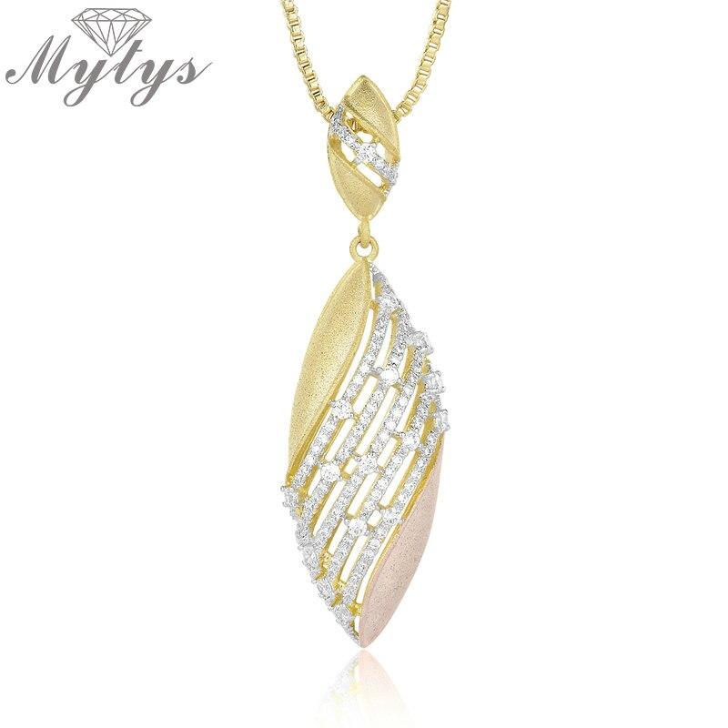 Mytys amarillo oro rosa Twon tono caja de cadena de colgante collar colgante para niñas de alta circón de calidad de corte hueco esfuerzo CN414