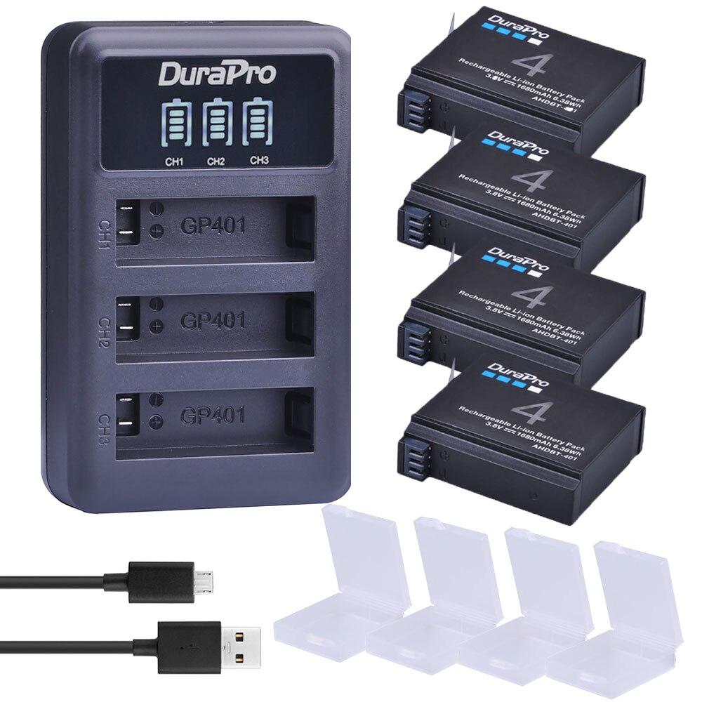 4pc 1680mAH AHDBT-401 AHDBT401 AHDBT 401 Digital Kamera Batterie + LED 3-Port Ladegerät für AHDBT401 GoPro hero 4 HD Kamera bateria