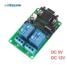 Cd 5V 12V 2 canaux RS232   Panneau de commutation de commande, Port série DB9, Interface SCM, relais PC, Module DB9