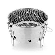 Pequeño horno de barbacoa al aire libre de acero inoxidable portátil BBQ grill net camping picnic carbón plegable salida