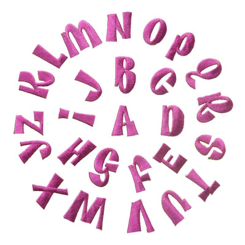 Venta al por mayor rosa roja 26pc letra inglesa bordado completamente parches hierro en la ropa gorra alfabeto ropa pegatina apliques rayas