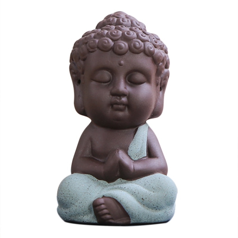 Monk Figurine Buddha Statue Tea Pet Oriental Culture Ornament Little Ceramic Succulent Plant Bonsai Garden Decor