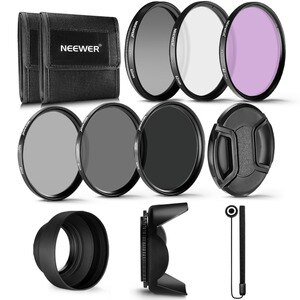 Neewer 62MM Professional UV CPL FLD Lens Filter+ND Filter(ND2/ND4/ND8)Kit for Pentax (K-30 K-50 K-5)/Sony Alpha A99 A77 A65