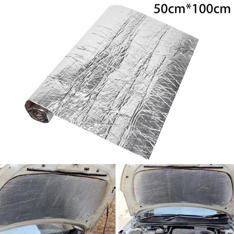 50x100cm alfombrilla de Deadener de sonido para coche aislamiento del capó capucha Deadening Hood motor Firewall calor Etiqueta de espuma de aluminio