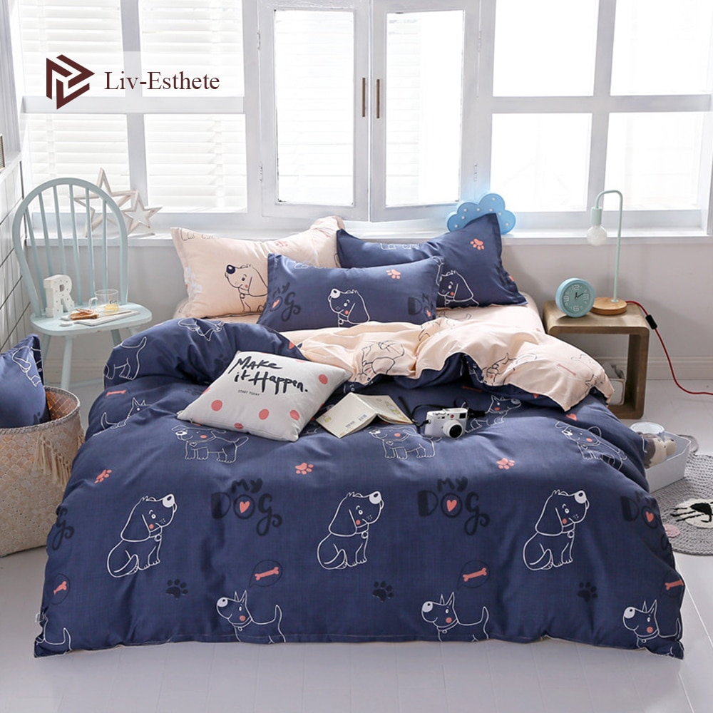 Juego de cama de perro bonito de dibujos animados Liv-Esthete, funda de edredón suave, Sábana plana, cama doble King, colcha de lino para regalo de niños adultos