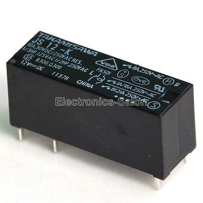 2x TAKAMISAWA JS12-K 12VDC SPDT 8 Amp Leistungsrelais, JS 12-K.