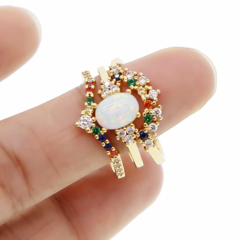 Juego de 3 uds de anillos de ópalo en forma de gota con arcoíris CZ elegantes para mujer, accesorios de joyería para fiestas, vacaciones, dedos