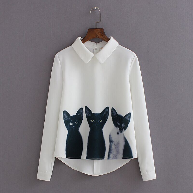 Blusa Casual de manga larga de tres gatos de gasa suelta para mujer de nueva marca con Gato de dibujos animados de moda camisas de Otoño de alta calidad
