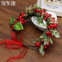 Haimeikang Festival Wedding Hair Accessories Wreath Artificial Berry Floral Crown Adjustable Wreath Crown Headband Ornaments