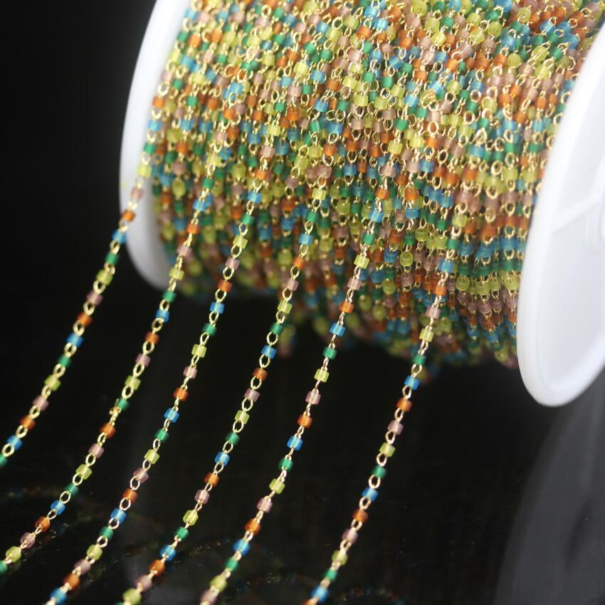 ¡Nuevo! Escarchado de colores, 1,6mm, cuentas de semillas japonesas, cadena de Rosario, alambre de Latón chapado en oro envuelto, cuentas de Miyuki delica, collar de joyería