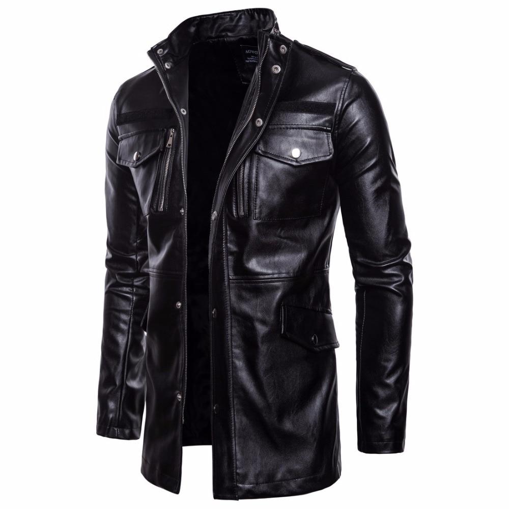 Chaqueta de cuero de longitud media para hombre, chaqueta de cuero estilo motorista para primavera y otoño, abrigos, rompevientos para hombre, prendas de vestir negras 2020