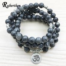 Ruberthen 2018 Top Design Labradorite Wrap Bracelet à la mode fait à la main hommes 108 Mala Yoga Bracelet ou collier Ohm Bracelet à breloques