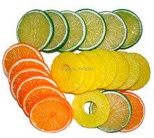 10 stks Levensechte Geel Nep Ananas Slice Garneer Kunstmatige Fruit Faux Voedsel Decor gratis verzending 7 cm