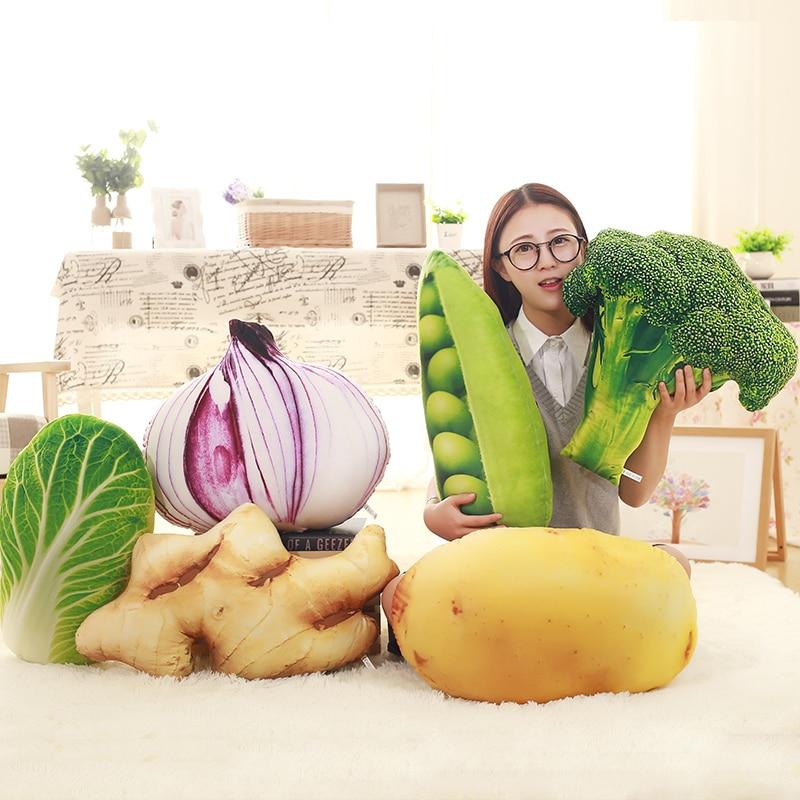 1 Pza grande simulación de frutas almohada de felpa verduras rellenas repollo brócol patata cebolla Juguetes Divertidos de felpa regalo sofá cojín asiento