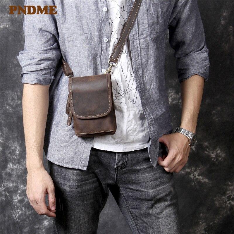 PNDME high quality simple crazy horse leather mens diagonal bag casual vintage mini handmade genuine leather small chest bag