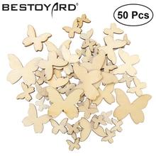 50 Uds mariposas de madera de tamaño mixto recortes MDF artesanía de madera adornos scrapbooking arte de madera decoración de la boda