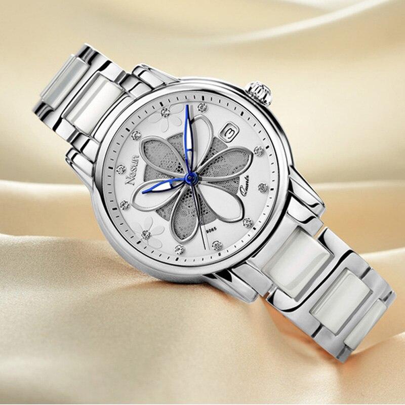 Nuevos relojes de lujo para mujer de Suiza Nesun, relojes de cuarzo de marca de seis hojas con diseño de hierba, relojes de pulsera de diamantes N9065-3