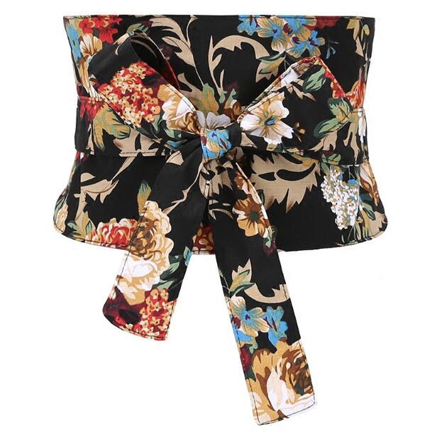 Moda de pasarela de las mujeres vintage flor imprimir arco Cummerbunds vestido femenino abrigo corsés cinturón decoración cinturón ancho R1185