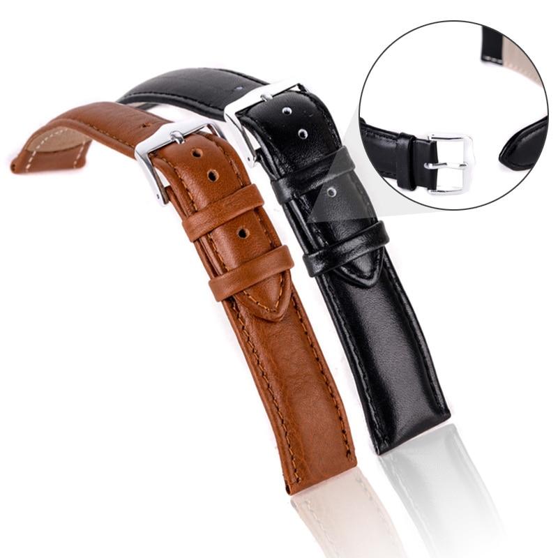 Luxury Watch Band 12mm,14mm,16mm,18mm,20mm,22mm,24mm Soft Sweatband Leather Strap Steel Buckle Wrist WatchBand